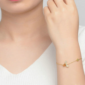 14K Gold Plated Silver Citrine Gemstone Honey Bee WEALTH ATTRACTING Bracelet