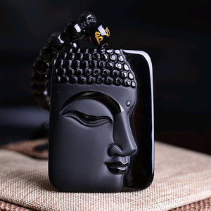 Modern Style HandCrafted Obsidian Buddha Head Pendant Necklace