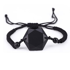 Blue Sandstone /Black Obsidian Cubic Hexagram NO NEGATIVITY Rope Bracelet