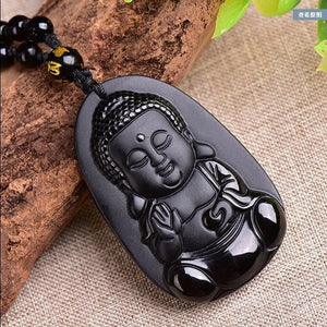 Cute Buddha Natural Obsidian Pendant Necklace