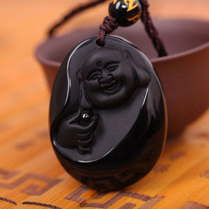 Unique Carved Natural Obsidian Buddha Pendant