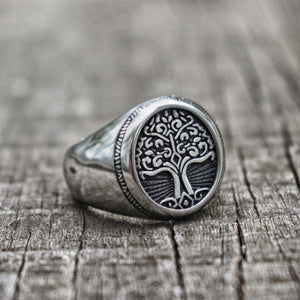 Titanium Steel Classic Men's TREE of LIFE Signet Ring-US Sizes 7-14
