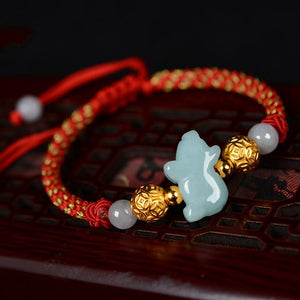 2020-Attract GOOD LUCK with a Pure 999 Silver  & JADE Zodiac  Red Rope FORTUNE  bracelet