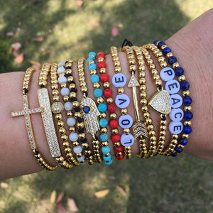 SWEET SUMMER STACKS! 4mm Gold Stainless Steel Beads,Letter,Stone & Accent Bracelets.BUY 2, GET 1 FREE!