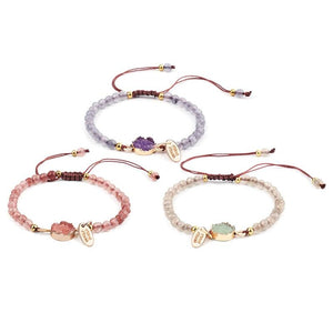 Natural Stone Bead & Druzy Accent 3 pc  Bracelet Set-BEST PRICE!