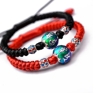 PURE SILVER Ethnic Tibetan 6 syllable Thermochromic charm Bead Bracelet