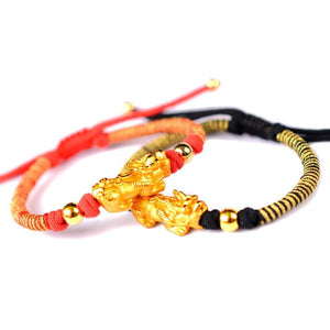 24k Plated Pure Silver 990  FENG SHUI Red/Black Rope AFFLUENCE Bracelet
