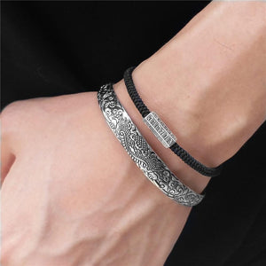 Steel Feng Shui QILIN Bangle & 6 Syllable OM Mantra Rope- 2pc GOOD LUCK Set