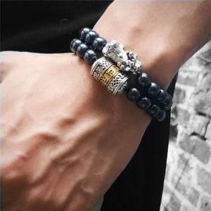 Feng Shui Pixiu with Hematite Stone & Prayer Wheel Accent POWERFUL PROTECTOR 2pc Bracelet set