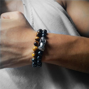 Stainless Steel Pixiu, Hematite & Tiger Eye Stone GOOD FORTUNE 2pc Bracelet Set
