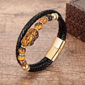 Stainless Steel , Braided Leather & Tiger Eye Stone Feng Shui PIXIU for WEALTH Bracelet