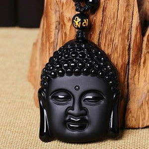 HandCrafted  Obsidian Buddha Head Pendant Necklace