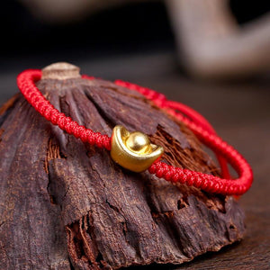 Pure Silver +24k  FENG SHUI LUCKY GOLD INGOT & Red Rope Bracelet