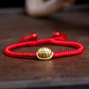 24k Pure Silver CELESTIAL GUARDIAN  LONGEVITY TURTLE  Red Rope Bracelet