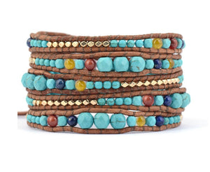 Turquoise Stone with Leather & Gold beads WRAP Bracelet