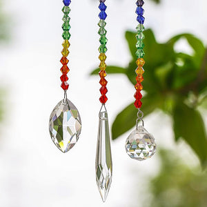 3/pc set of  7 Chakra Sparkling Crystal Sun Catchers