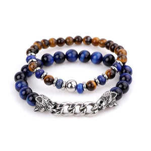 Natural Stone & Stainless Steel  Double WOLF 'LOYALTY' 2 pc Bracelet Set -13 Styles