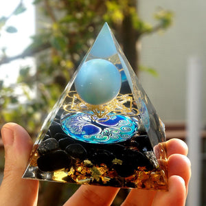 #40- Handmade Obsidian & Blue Lace Agate 'SERENITY' ORGONITE Pyramid