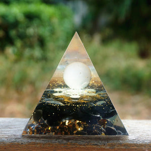 #21 -Handmade Obsidian & Rose Quartz Sacred Geometry 'INNER PEACE' ORGONITE Pyramid