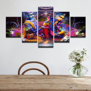 Colorful Indian God Vishnu and Lakshmi  5 Panel Wall Art