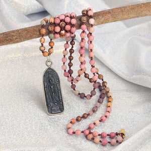 Ancient Style Thai BUDDHA AMULET & Rhodochrosite Stone LOVE Necklace