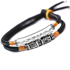 PURE  SILVER Om Mani Padme Hum Charm Double Rope Tibetan  bracelet