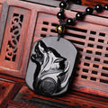 Trendy Natural Obsidian Carved Wolf Head Amulet pendant