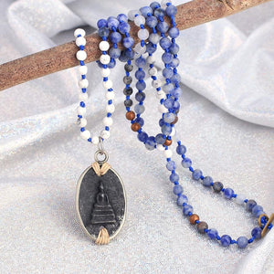 Ancient Style Thai BUDDHA AMULET & Sodalite/Howlite Stone INTUITION Necklace