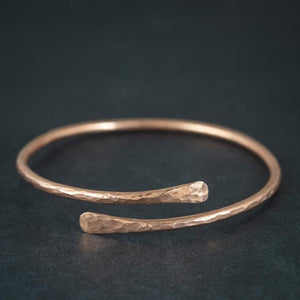 Unisex Tibetan Hand Beaten Polished Copper Bangle