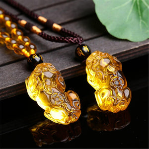 Natural Citrine Pixiu Necklace- Attract WEALTH & JOY into your Life.