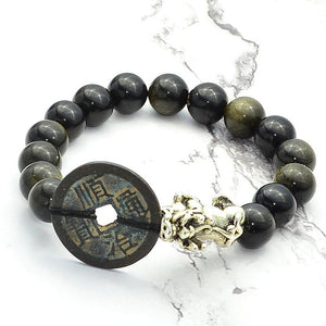 Golden Obsidian Stone & WEALTH Ancient Coin & Pixiu Feng Shui Bracelet