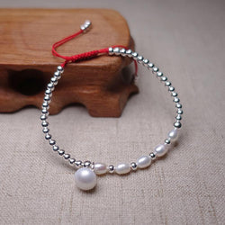 Freshwater Baroque Pearls & Silver INTEGRITY  Red Rope Bracelet