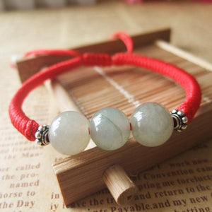 Burmese Jade HEALING Red Rope Bracelet with Silver Accents