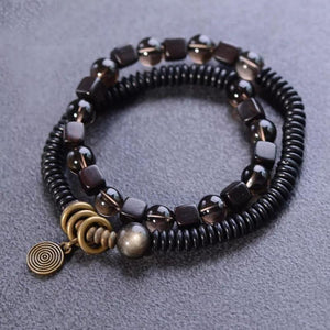 Ethnic Tibetan Coconut,Ebony Wood & Smoky Citrine DETOXIFYING Dual Layer Bracelet