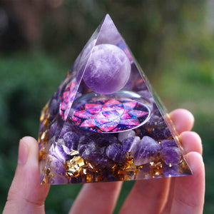 #9-Handmade Amethyst Crystal Sphere 'PURIFYING' ORGONITE Pyramid