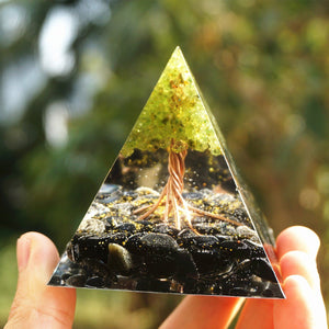 49-Handmade Peridot Tree of Life ORGONITE 'GOOD HEALTH' Pyramid