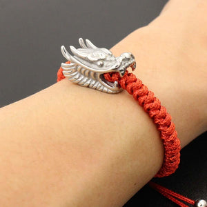 Men's Stainless Steel Dragon Head & Braided Rope STRENGTH Bracelet