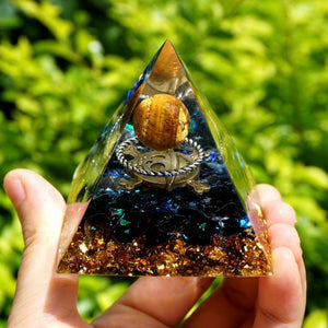 #105-Handmade Obsidian & Tiger Eye Silver Ring Crystal Sphere 'COURAGE' ORGONITE Pyramid