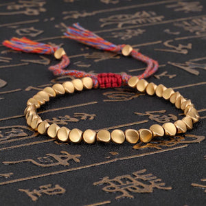 Handmade Tibetan Buddhist Braided Cotton & Full Copper Bead Lucky Rope 'BELIEF' Bracelet