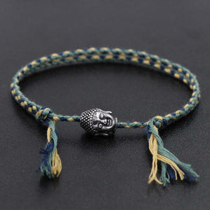 Hand braided Tibetan Cotton Rope & Stainless Steel Buddha SPIRITUAL Bracelet or Anklet-18-30cm