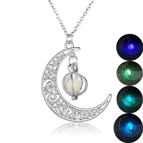 Luminous stone crescent moon pendant necklace zenheavens luminous stone crescent moon pendant necklace mozeypictures Choice Image