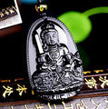 Natural Black Obsidian Eight Patron Saint Buddha Pendant Necklace