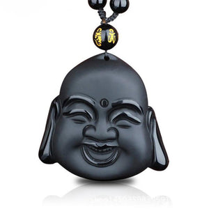 Laughing Buddha Obsidian Pendant Necklace
