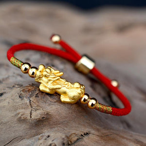 PURE SILVER 24k Gold Plated Pixiu Red Rope WEALTH Bracelet
