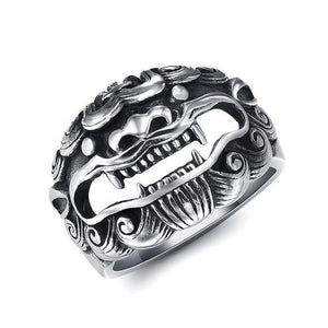 Stainless Steel Lucky Qilin Lion- GOOD OMEN Ring-US Sizes 7-13