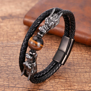 Steel, Leather and Stone STRENGTH Bracelet with Dual Dragon Heads