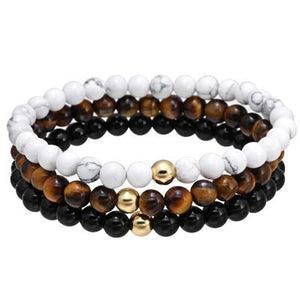 3 pc set of Men's Natural Stone Bracelets-Embrace Positivity!
