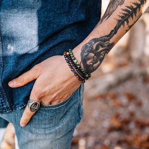 3 Pc set of Natural Stone Men's Gratitude Bracelets