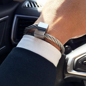 Titanium Steel Silver Twist Men's Bangle