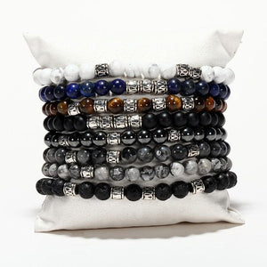 Men's 4pc Natural Stone 'SLOW RELEASE ENERGY' Bracelet Set